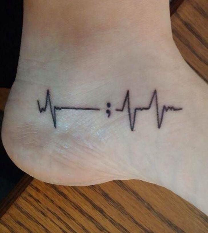 Passionate Semicolon Tattoo Design For Foot