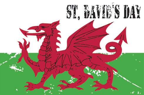 Red Dragon St David's Day Wishes Card Image