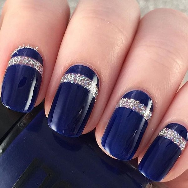 Sensational Blue And Silver Nails With Silver Line