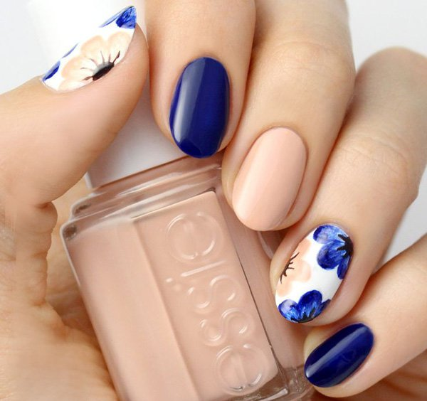 Sensational Blue Nails With Baby Pink And Flower