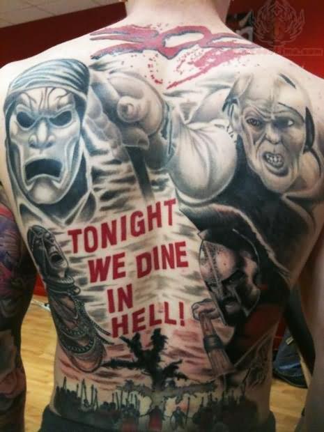 Superb Hell Tattoo on Full back For Boys