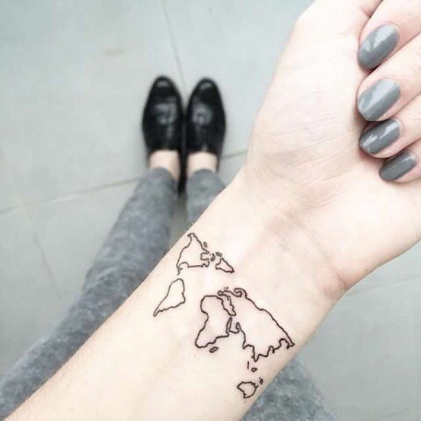 Superb World Map Tattoo On arm For women