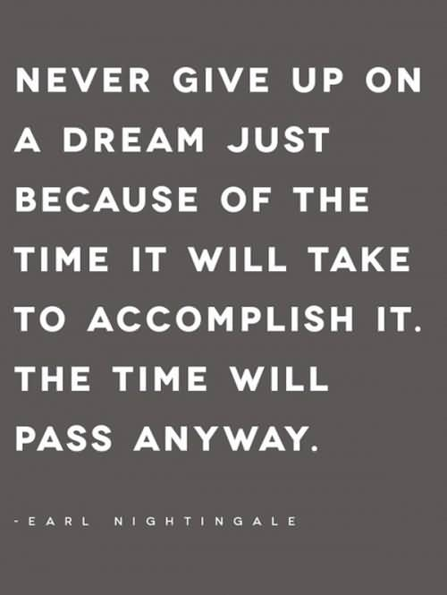 Time Quotes Never give up on a dream just because of the time it will take to accomplish it Earl Nightingale