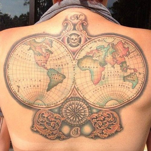 Traditional World Map Tattoo On Back For Boys