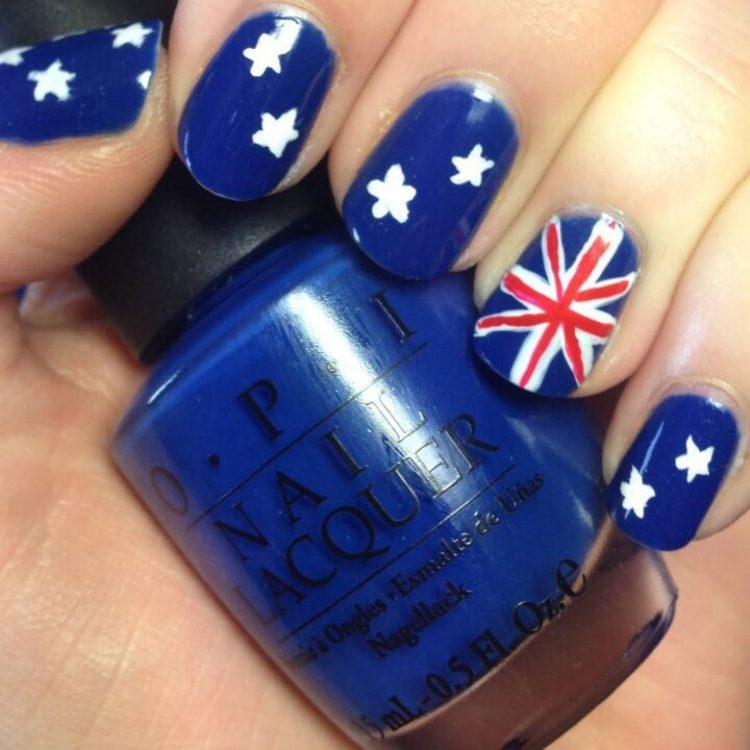 Tremendous Blue Nails With Flag Design