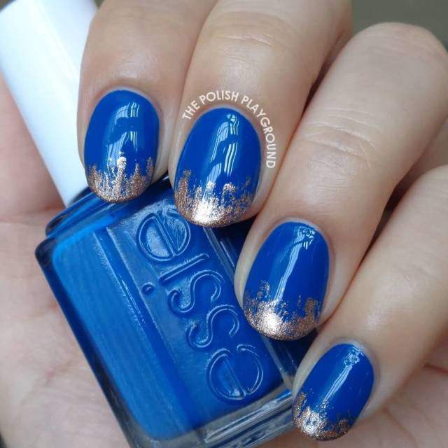 Tremendous Blue Nails With Silver Tips