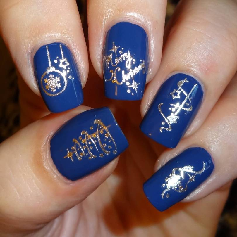 Wonderful Blue And Silver Nails With Different Design