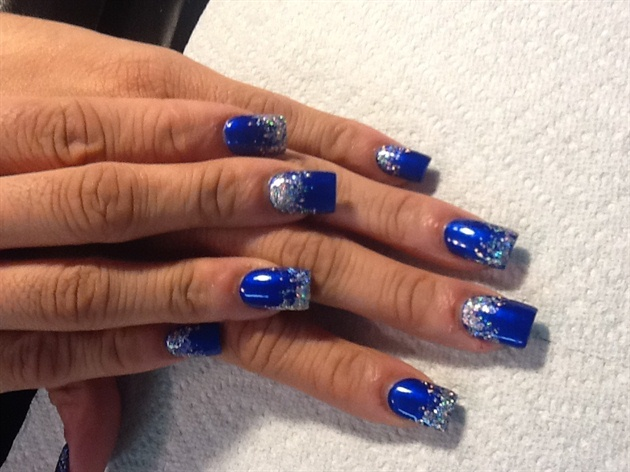 Wonderful Blue Nails With Mix Design