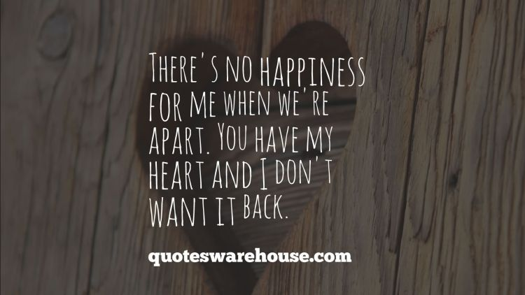 You Have My Heart Quotes there's no happiness