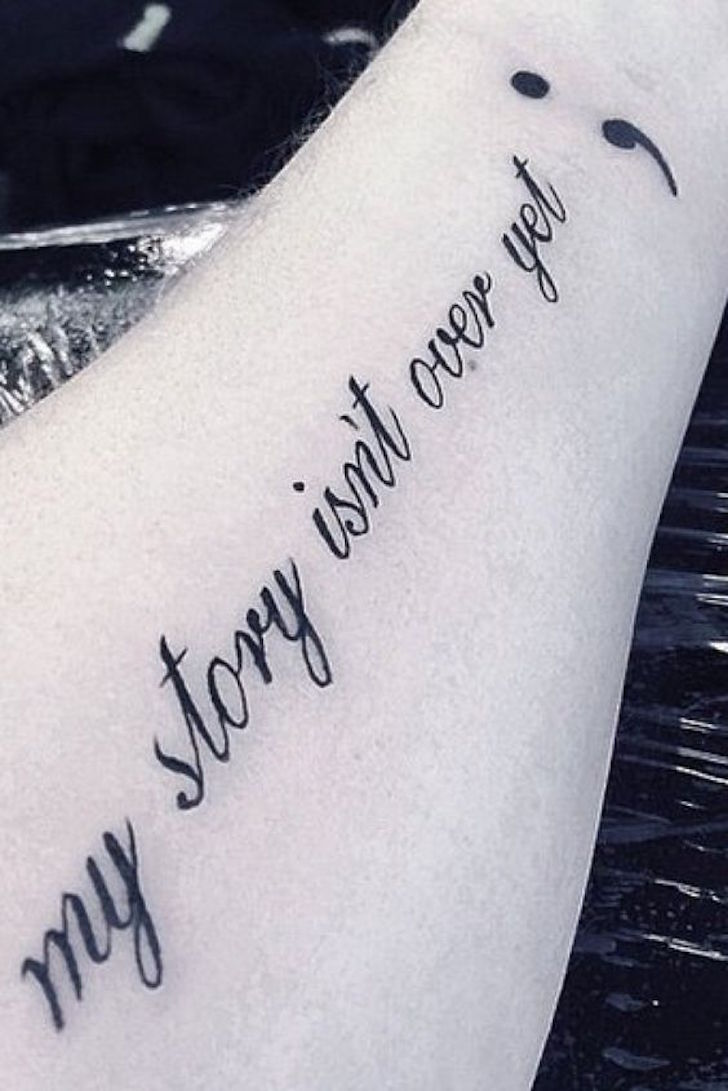 inspirational Semicolon Tattoo Design For Girls