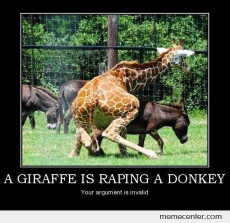 A giraffe is raping a donkey Giraffe Meme