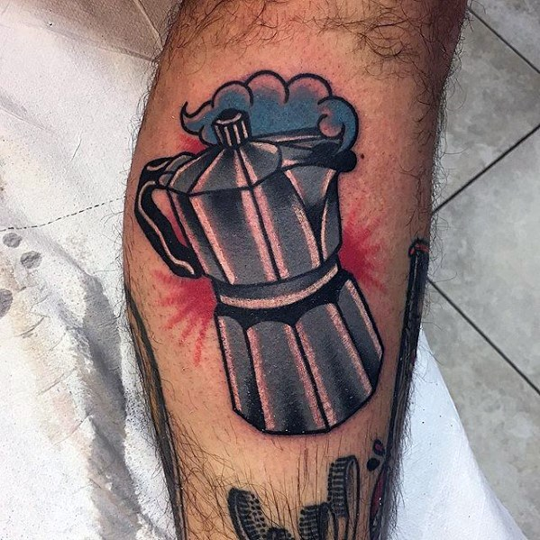 Amazing Coffee Tattoo On leg for boys