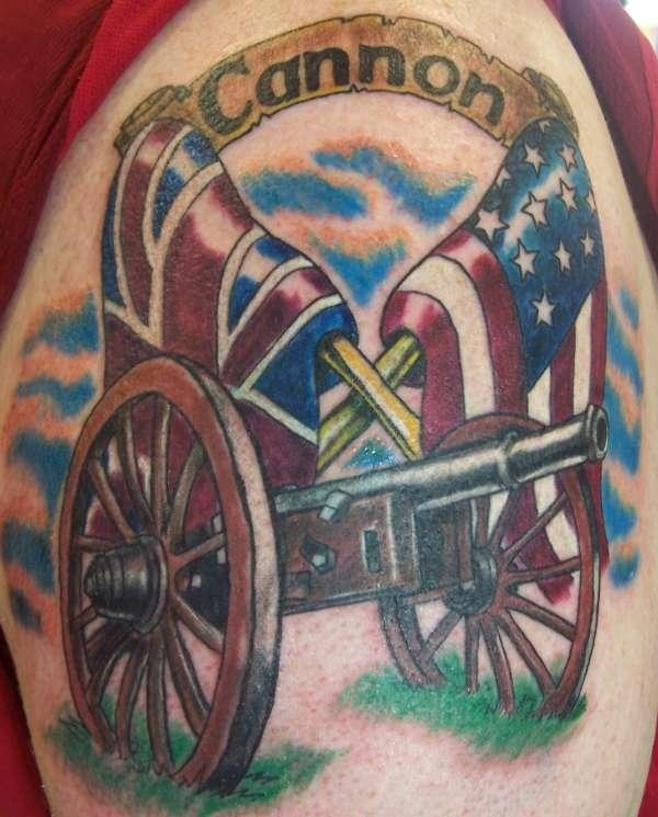 Awesome Cannon Tattoo On Shoulder for boys