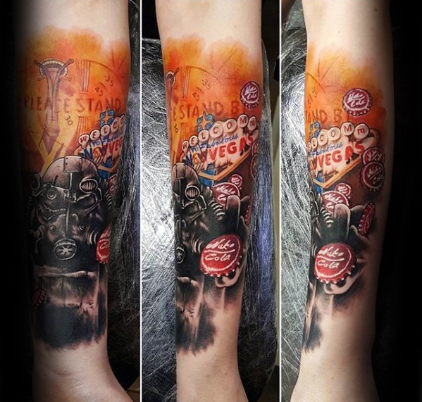 Awesome Fallout Tattoo On arm for Women