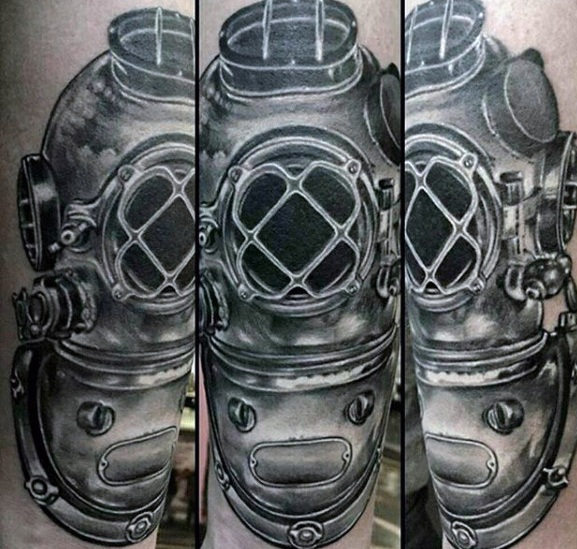 Beautiful Diving Helmet Tattoo On Arm for Girls