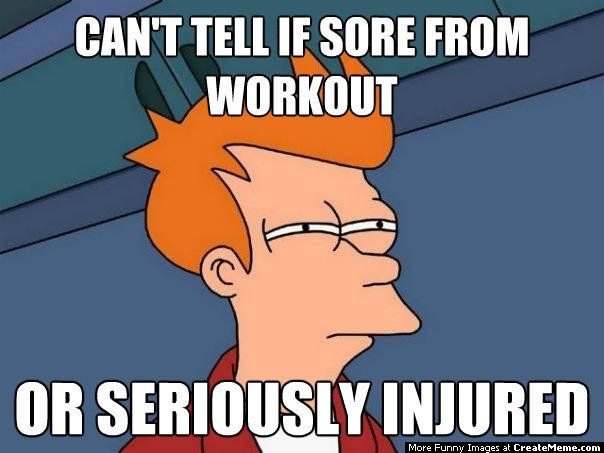 Cant tell if sore from or seriously Exercise Meme