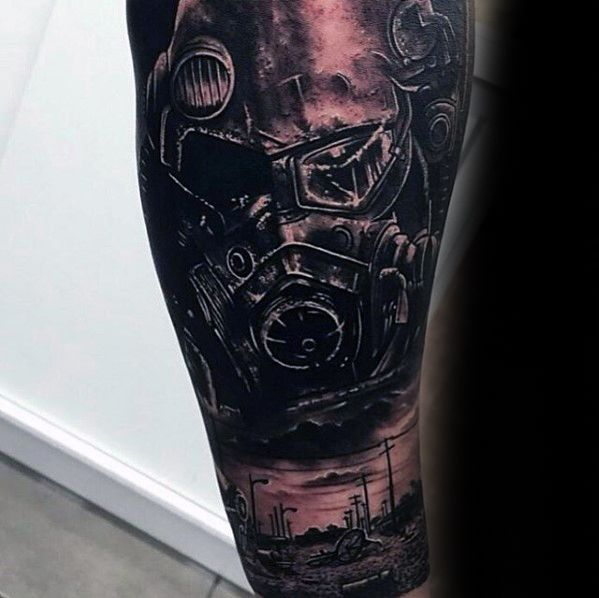 Coolest Fallout Tattoo On full arm for men