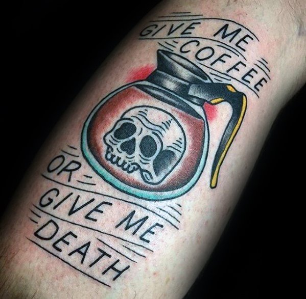 Crazy Coffee Tattoo On Arm for Boys