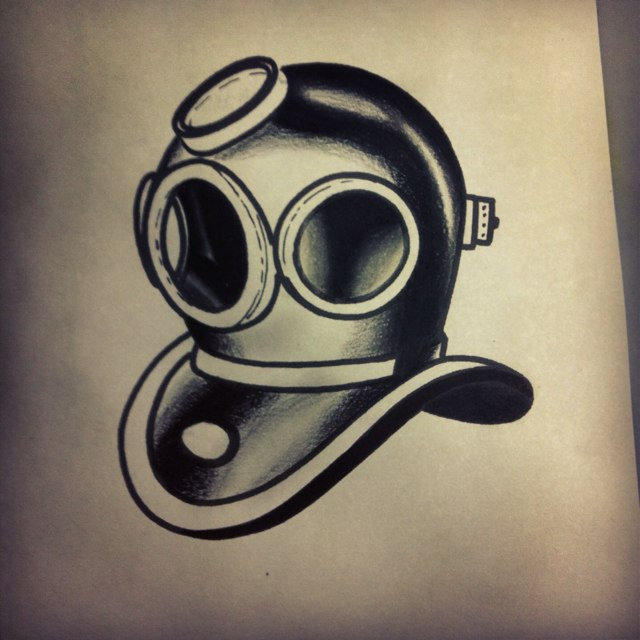 Crazy Diving Helmet Tattoo On Rib for Boys