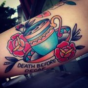 Creative Coffee Tattoo On Arm for Guys