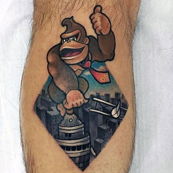 Custom Donkey Kong Tattoo On leg for boy