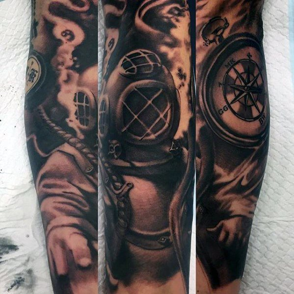 Cute Diving Helmet Tattoo for Arm
