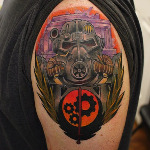 Cute Fallout Tattoo For Guy's arm