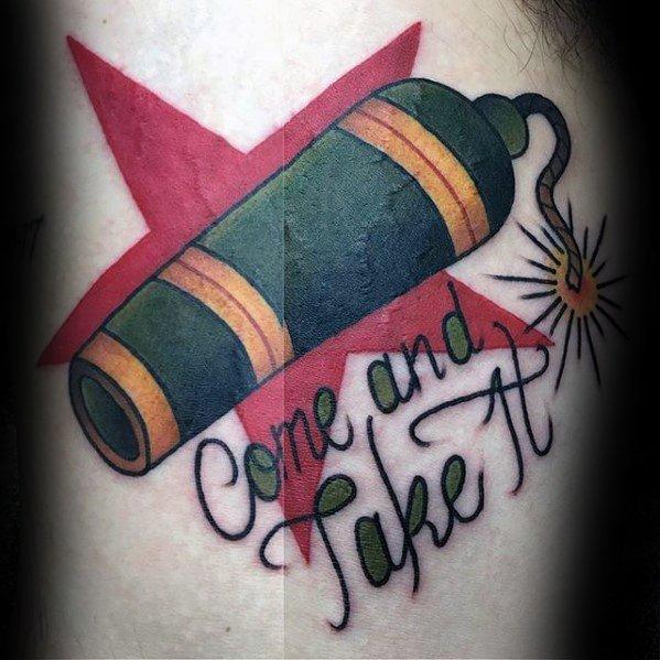 Elegant Cannon Tattoo On Arm for Ladies