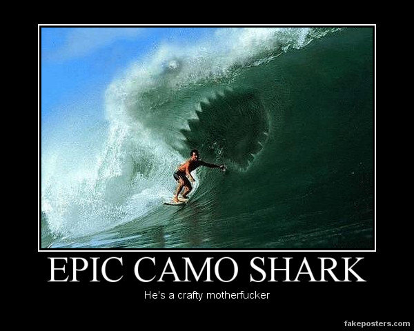 Epic camo shark he's a crafty motherfucker Camouflage Meme