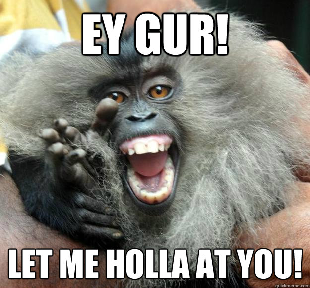 Ey gur let me holla at you Monkey Memes