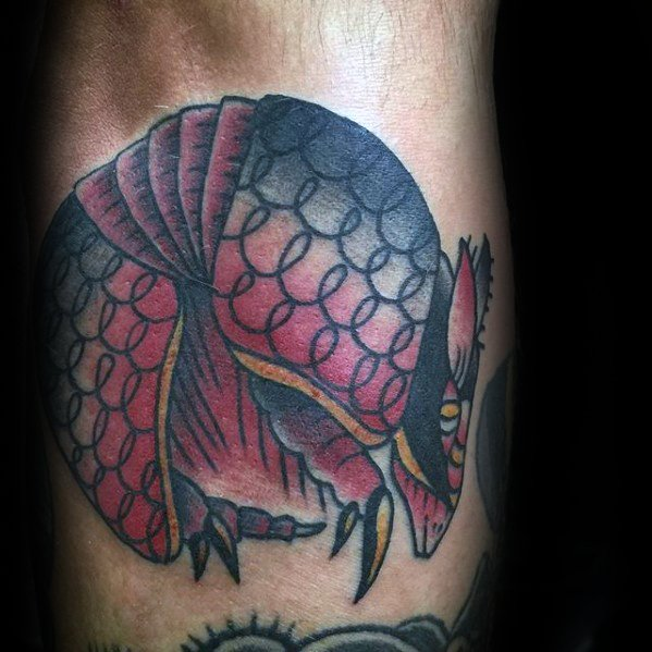 Fantastic Armadillo Tattoo On Leg for boys