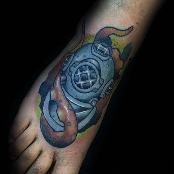 Fantastic Diving Helmet Tattoo On Foot