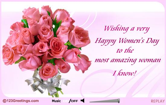 For Most Amazing Women Happy Women's Day Greetings Card
