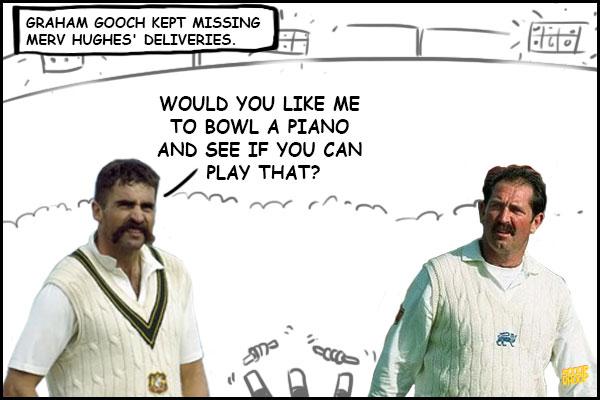 Graham gooch kept missing merv hughes deliveries Cricket Memes