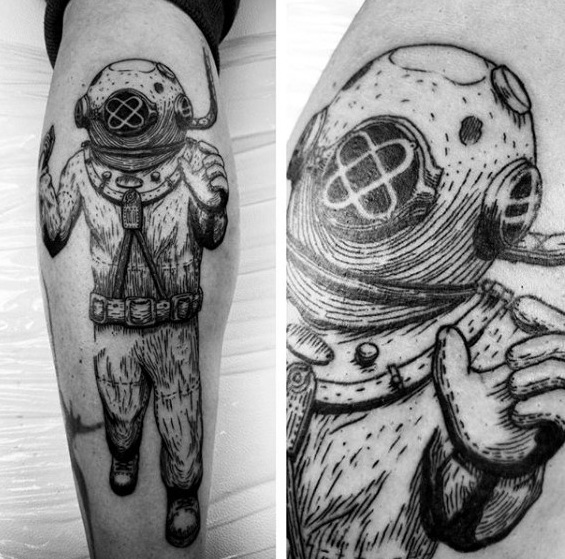 Great Diver Tattoo On leg for Girls