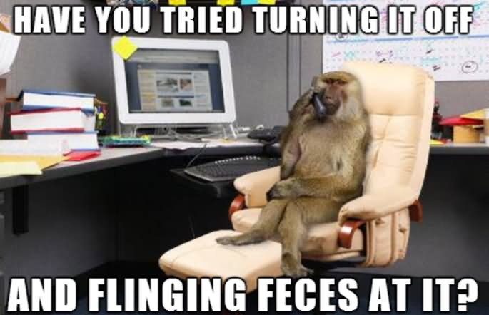 Have you tried turning it off and flinging feces Monkey Memes