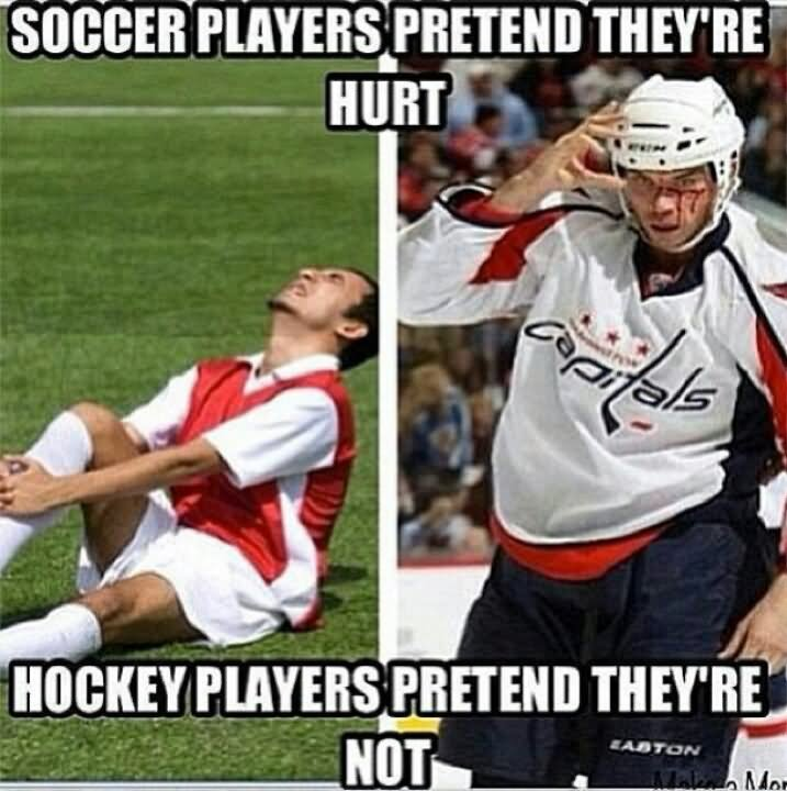 Hockey Meme Soccer players pretend they're hurt
