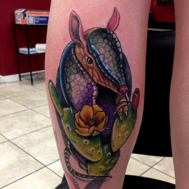 Inspirational Armadillo Tattoo On arm For Men