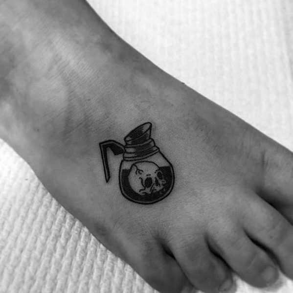 Inspirational Coffee Tattoo On foot