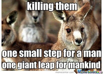 Killing them one small step for a man one giant leap Kangaroo Memes