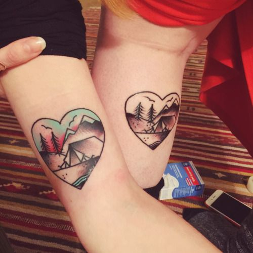 Lovely Camping Tattoos On arm for couples