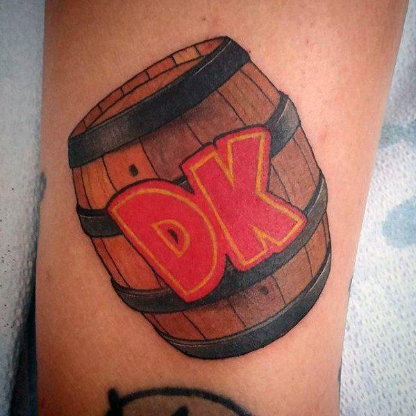 Lovely Donkey Kong Tattoo For leg