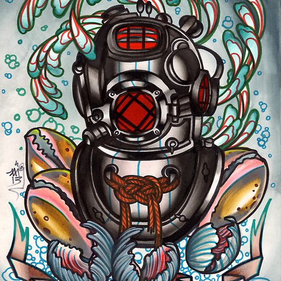 Marvelous Diving Helmet Tattoo for Tattoo fans