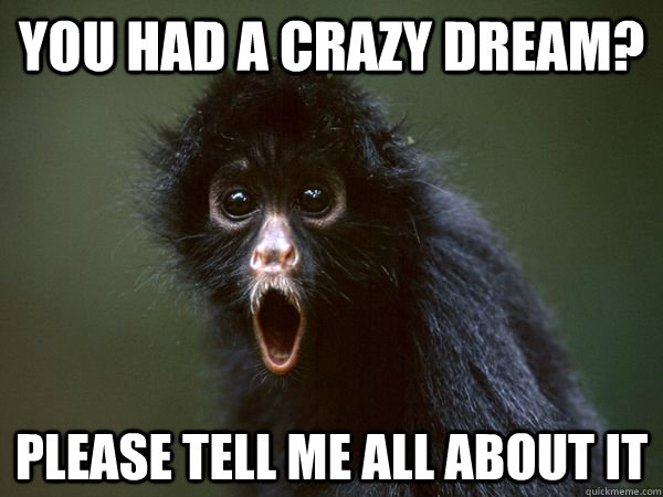Monkey Meme You had a crazy dream please tell me all about it