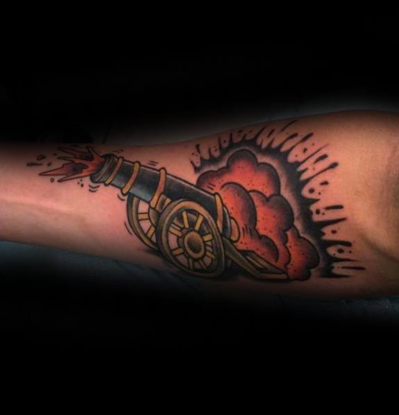 Most beautiful Cannon Tattoos On ARm for mens