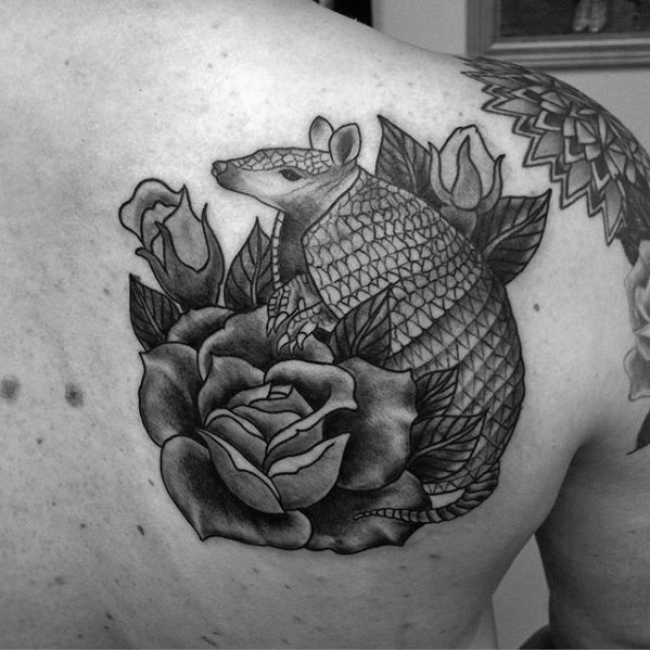 Motivational Armadillo Tattoo On Shoulder for Tattoo fans