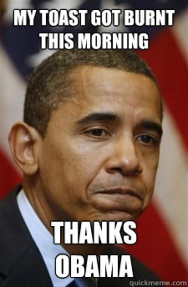 My toast got burnt this morning thanks obama Meme