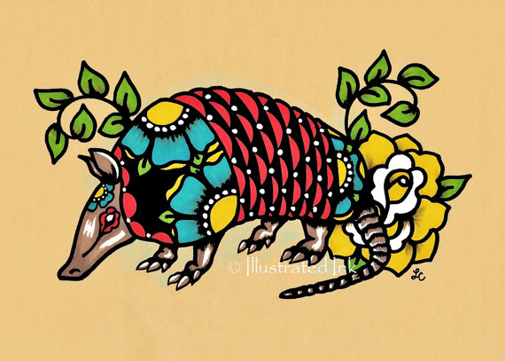 Nice Armadillo Tattoo for Women's