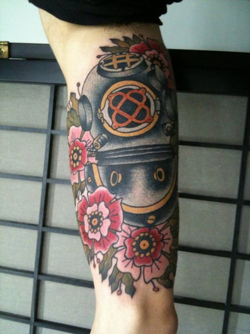Nice Diving Helmet Tattoo On ARm for Guys