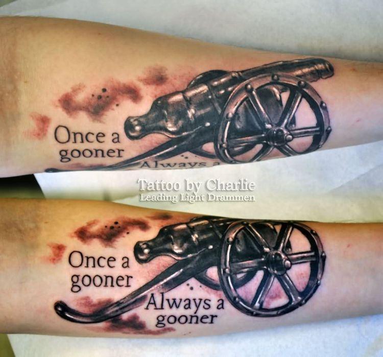Passionate Cannon Tattoo On Arm for mens